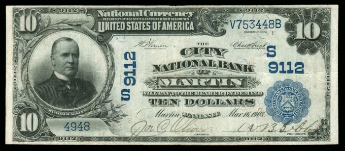 City National Bank of Martin National Currency Bank Note Dollar Bill